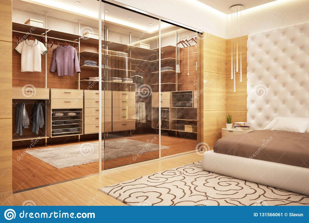 Large Dressing Room In The Bedroom Stock Image Image Of Bedroom