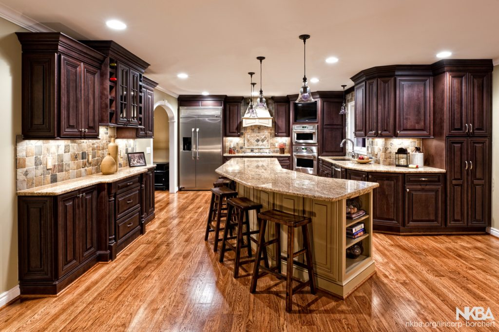 Large Kitchen Remodel With Dark Cabinets And Cherry Floors Nkba