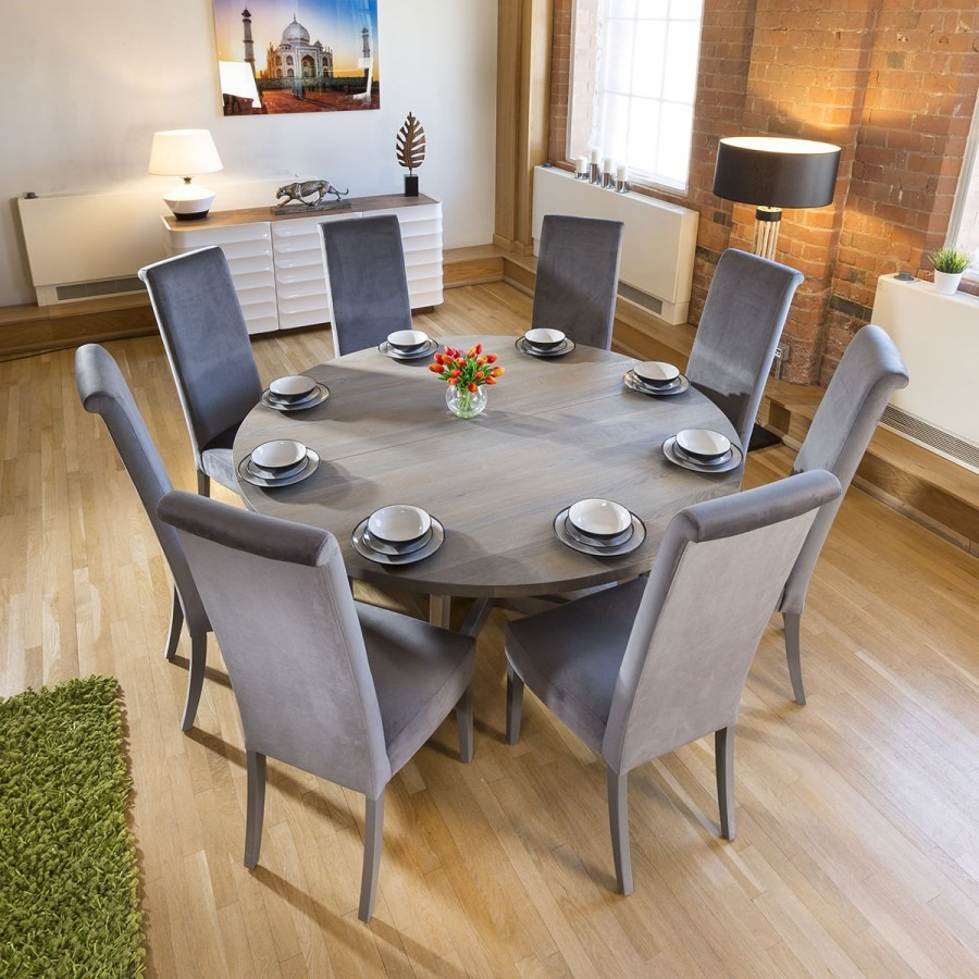 Large Round 18 Grey Oak Dining Table 8 Extra High Velvet Grey Chairs