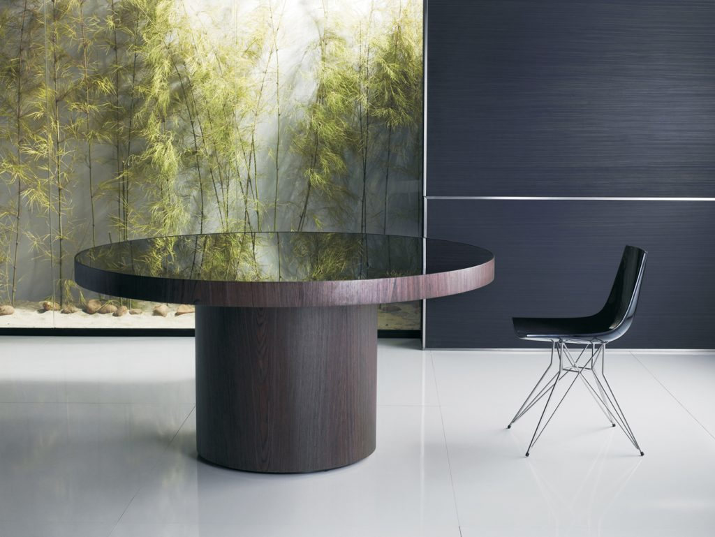 Large Round Dining Table With Colored Glass Top