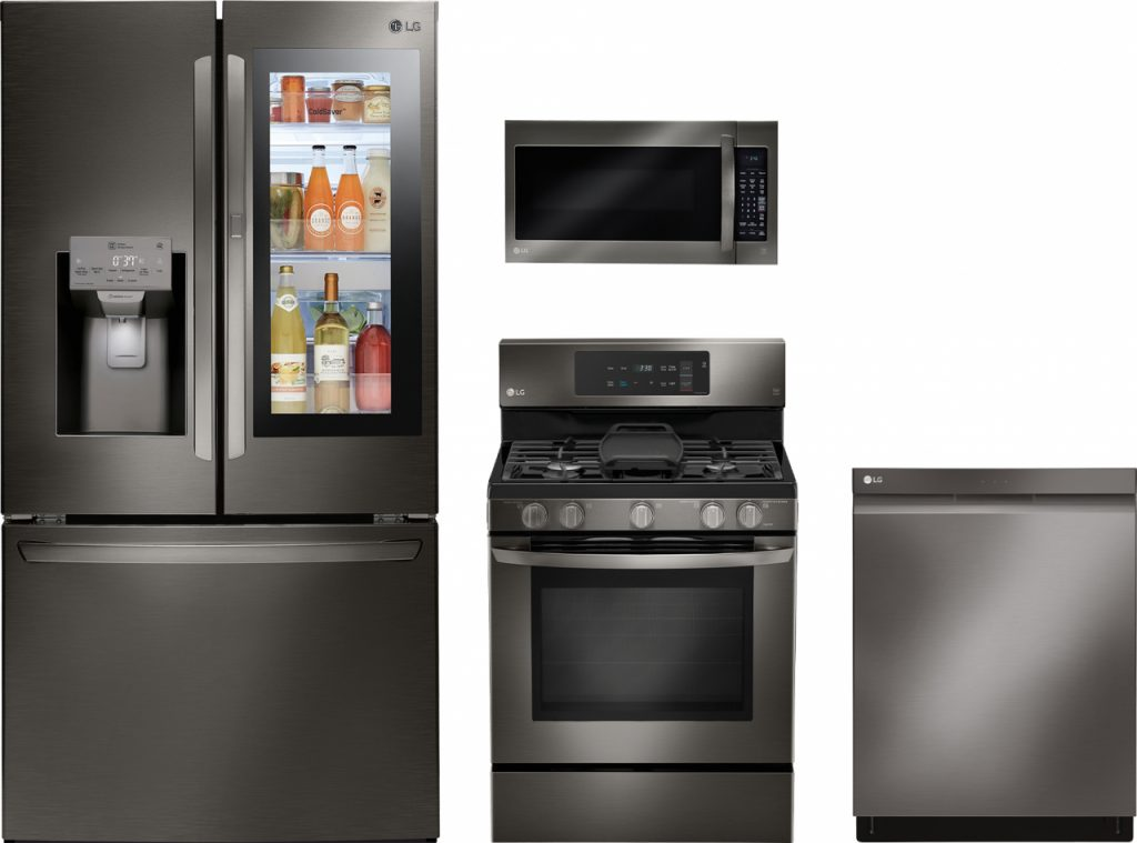 Lg 4 Piece Black Stainless Steel Kitchen Package Lgkitlmv2031bd