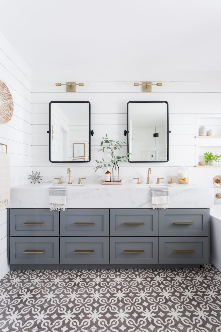 Light Airy Bathroom With Shiplap Patterned Tile Mixed Metals
