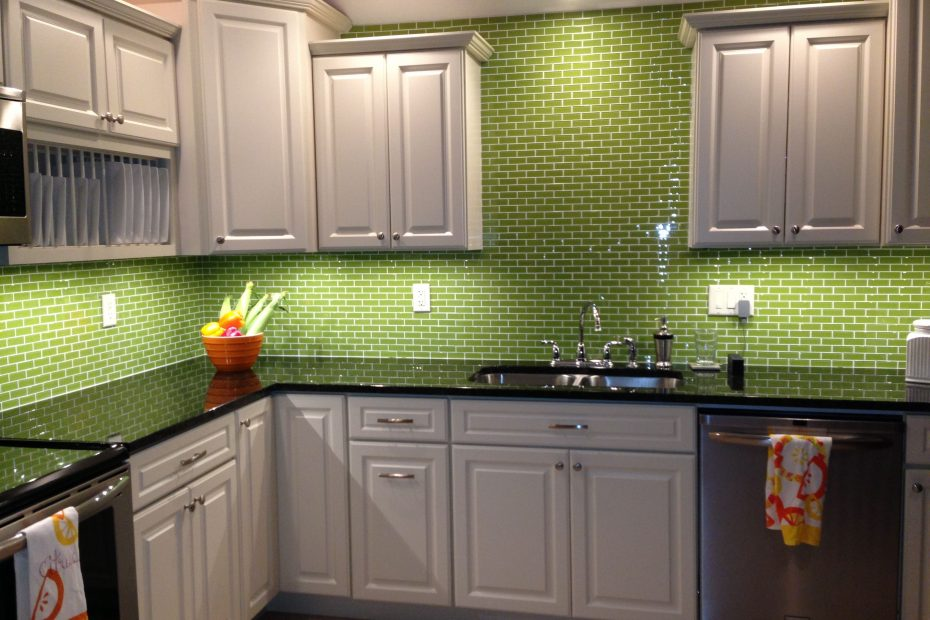 Lime Green Glass Subway Tile Backsplash Kitchen Kitchen Ideas