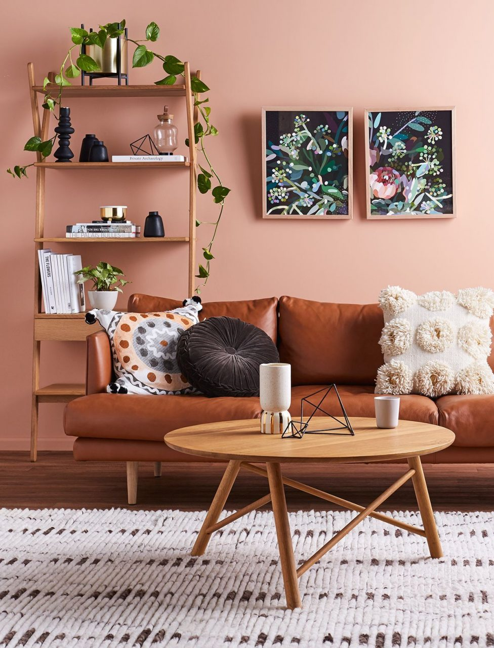 Living Room Brown Leather Sofa Couch Mid Century Pink Wall
