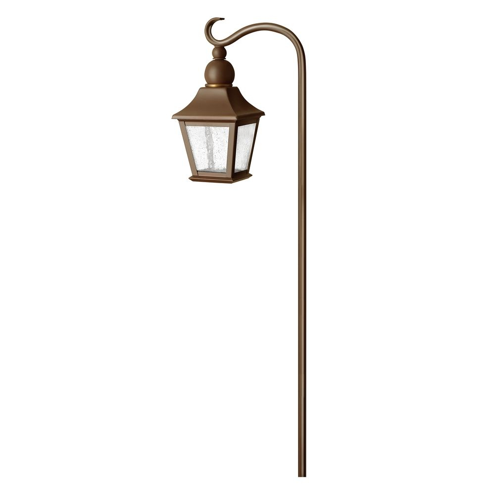 Low Voltage Seeded Glass Path Light Copper Bronze Hinkley Lighting At Destination Lighting