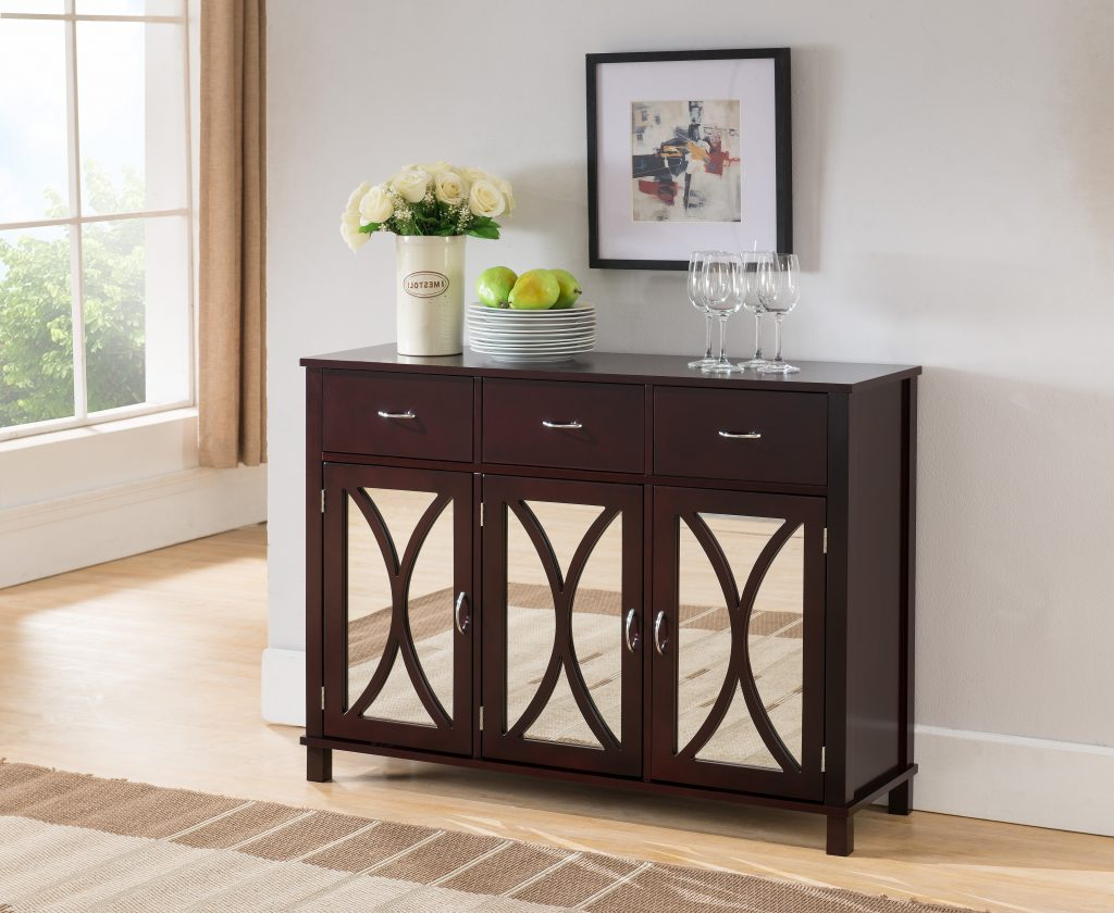 Luke Espresso Wood Contemporary Sideboard Buffet Server Console