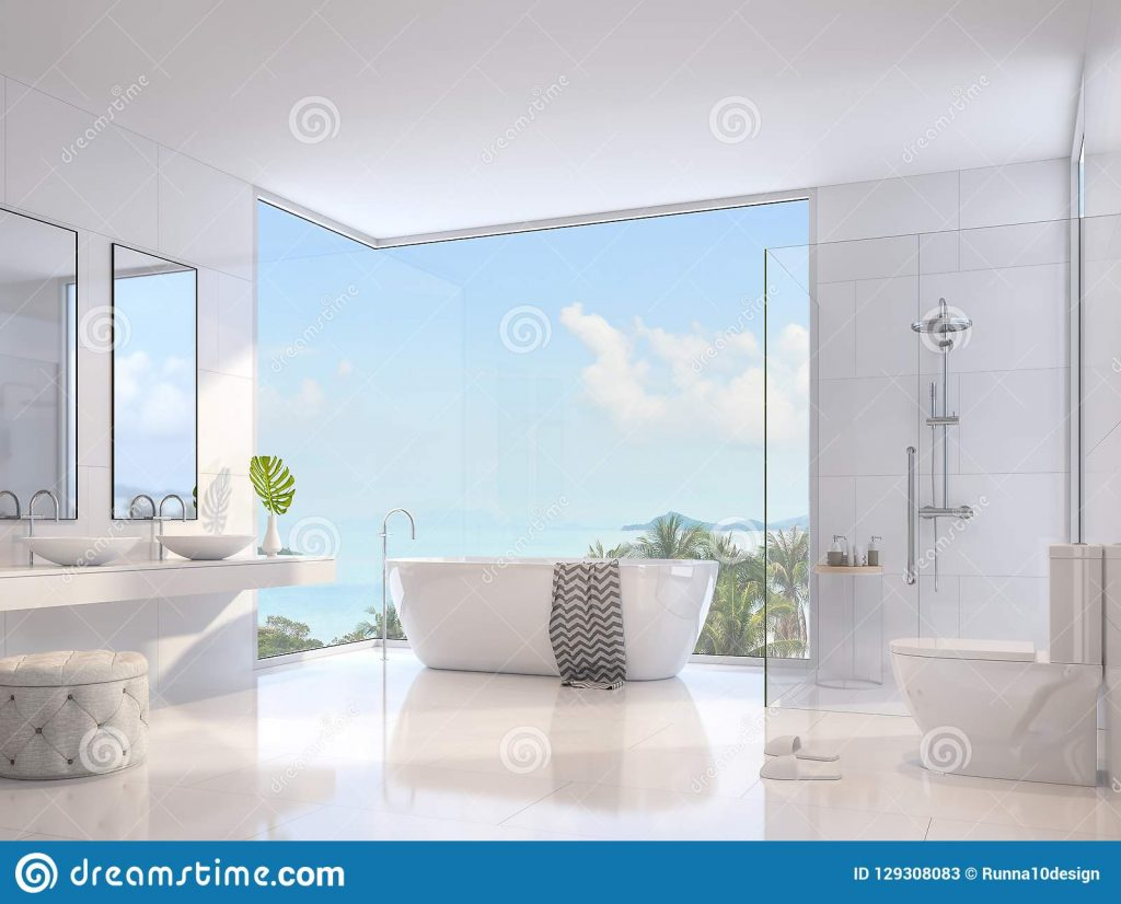 Luxury Bathroom With Sea View 3d Render Stock Illustration