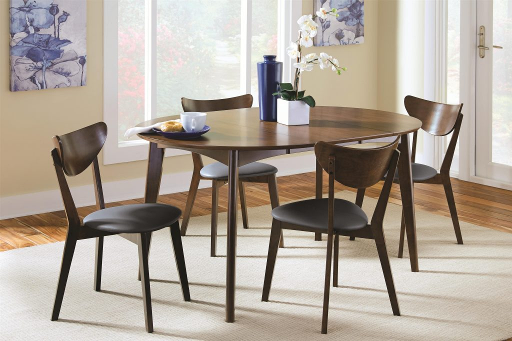 Malone Mid Century Modern 5 Piece Solid Wood Dining Set Coaster At Dunk Bright Furniture