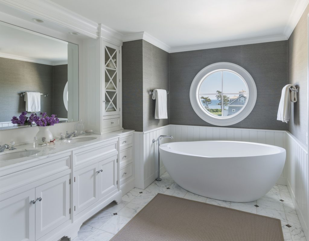 Master Bathroom Free Standing Tub Gray Grasscloth Wallpaper