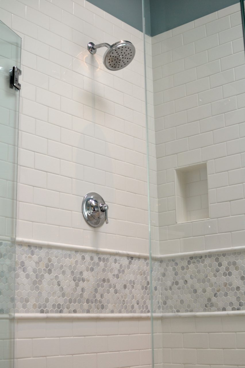 Master Bathroom Renovation White Subway Tile With Cararra Marble