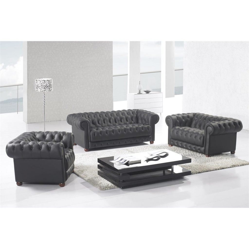 Matte Black Modern Contemporary Real Leather Configurable Living Room Furniture Set With Sofa Loveseat And Chair
