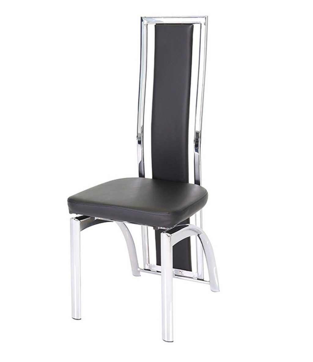 Mayfair High Back Faux Leather And Chrome Black Dining Chair Mayfair