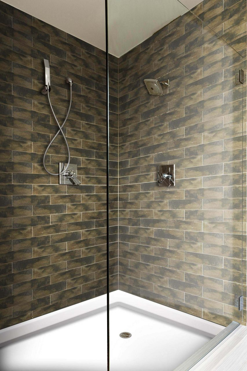 Memphis Dark Brown Brick Wall And Floor Tile