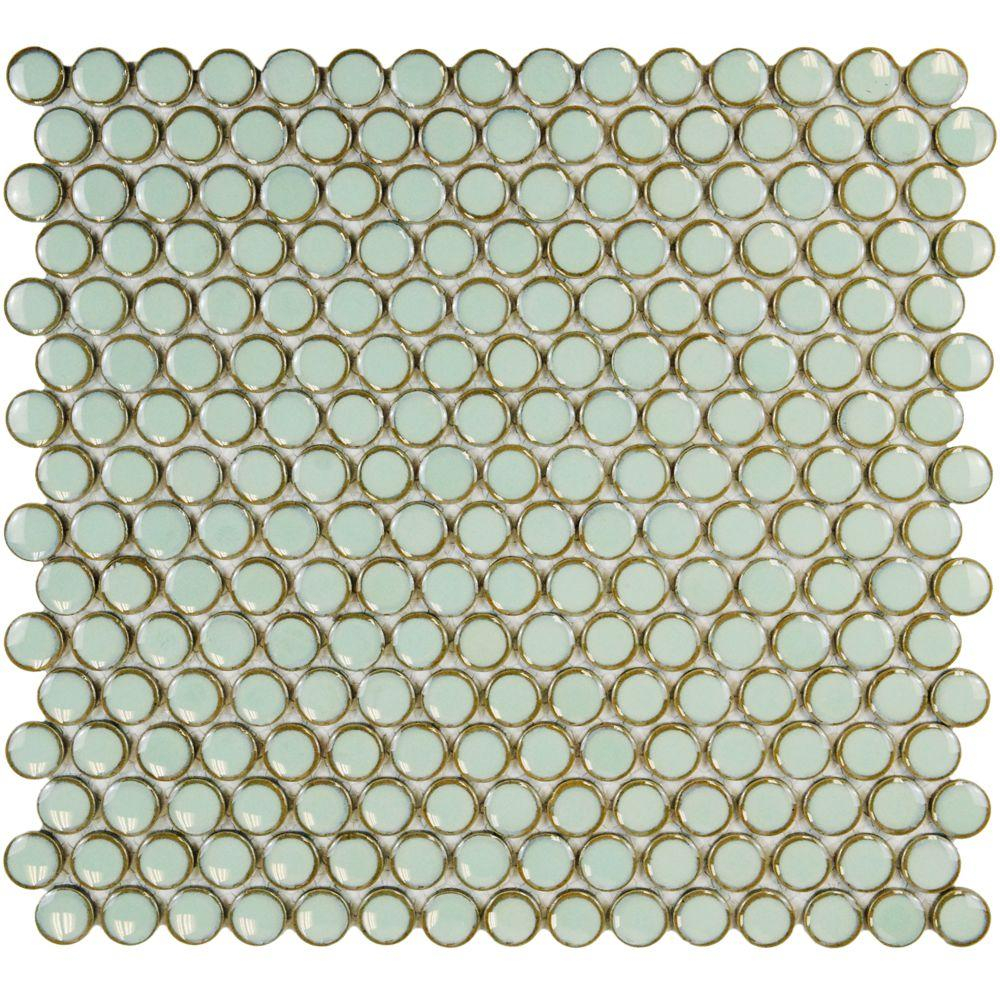 Merola Tile Hudson Penny Round Light Green 12 In X 12 58 In X 5 Mm Porcelain Mosaic Tile 1074 Sq Ft Case