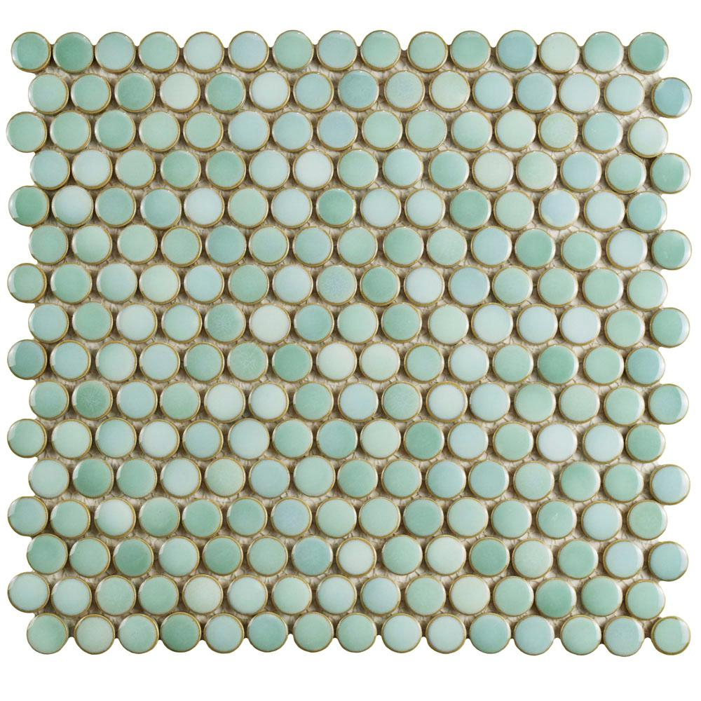 Merola Tile Hudson Penny Round Mint Green 12 In X 12 58 In X 5 Mm Porcelain Mosaic Tile