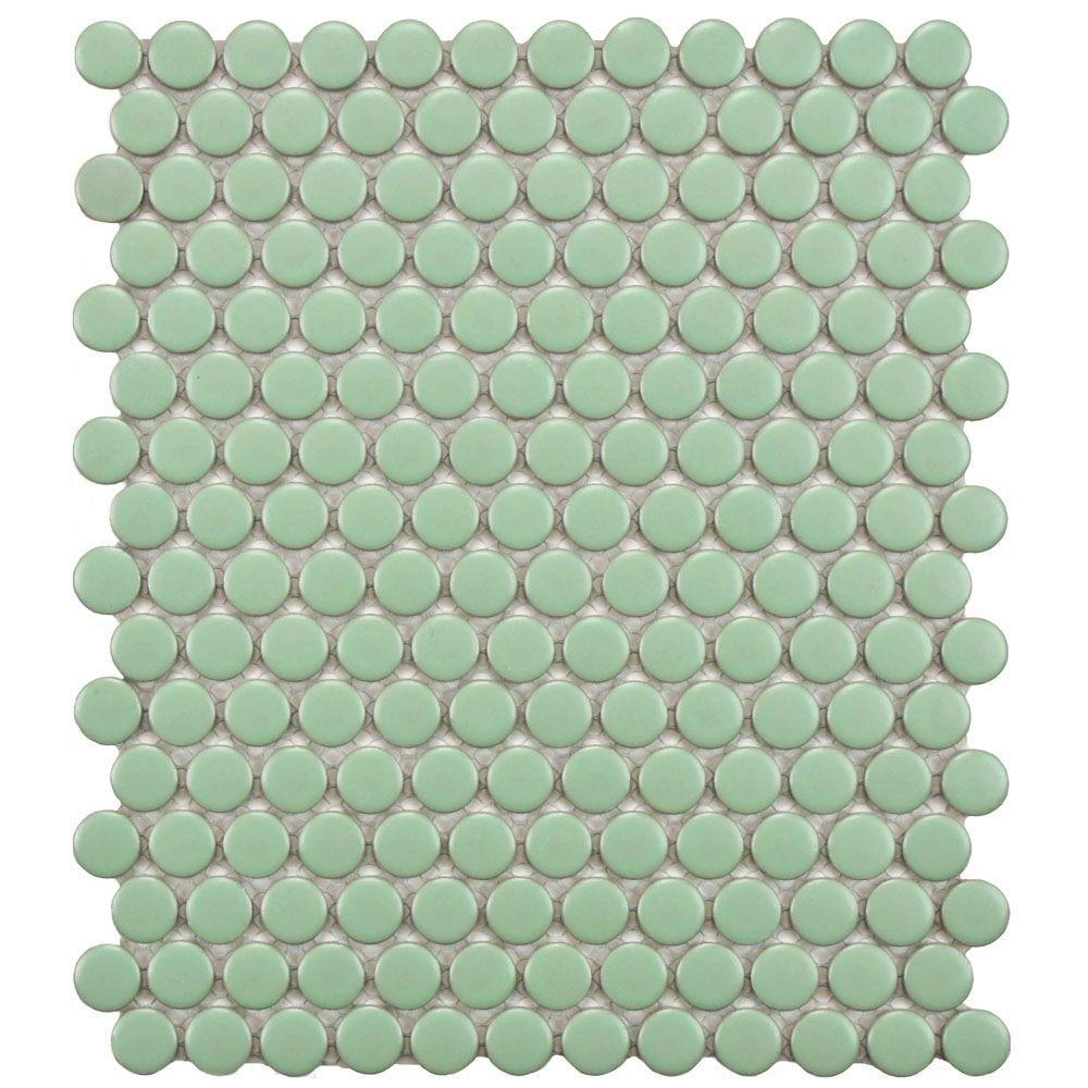 Merola Tile Metro Penny Matte White With Black Flower 9 34 In X 11 12 In X 6 Mm Porcelain Mosaic Tile 797 Sq Ft Case