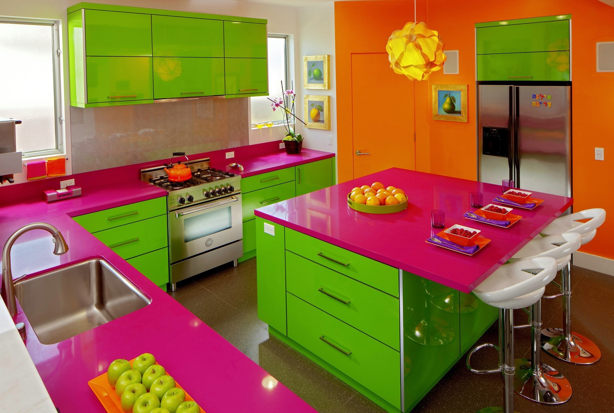 Mesmerizing Lime Green Kitchen Walls Of Bo With Pink For Color Decor Layjao