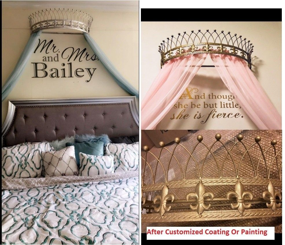 Metal Iron Wall Teester Bed Canopy Drapery Crown Hardware Over Bed