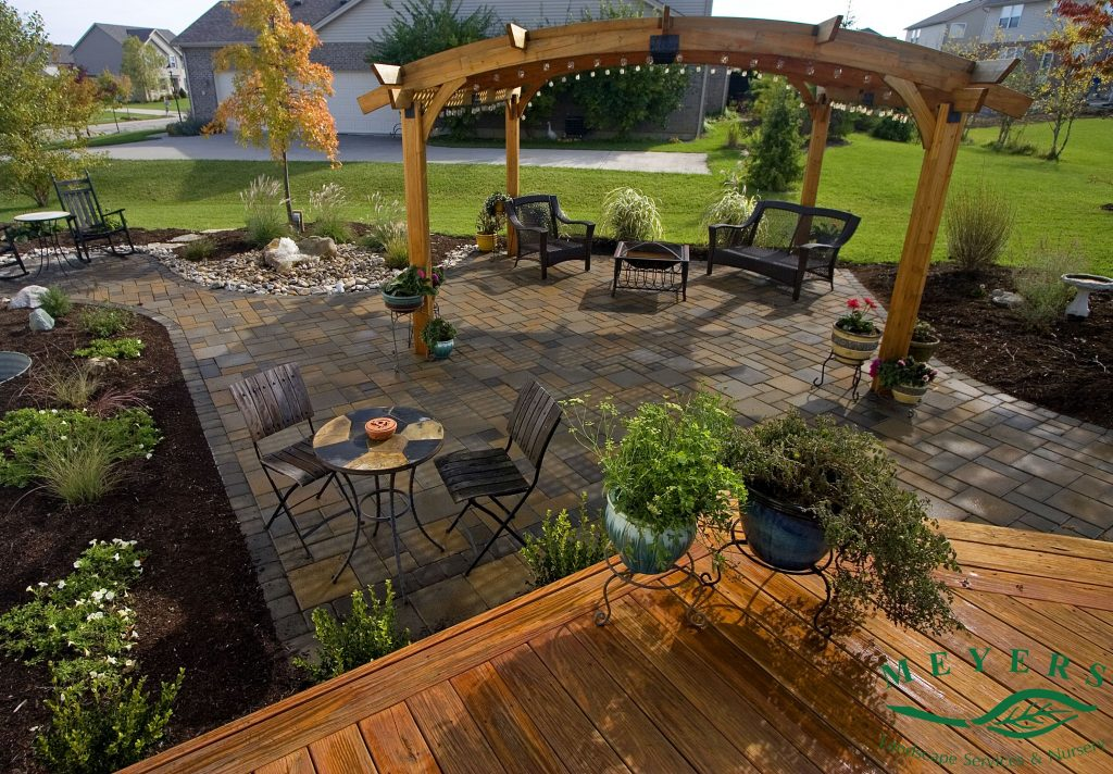 Meyers Landscape Custom Paver Patio With Deck And Lighted Pergola