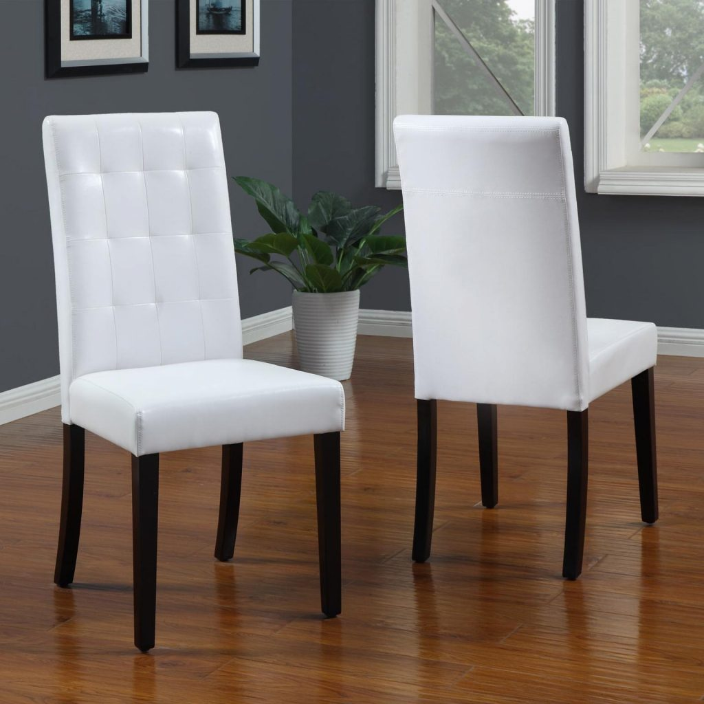 Mission Style Upholstered Dining Chair With Black Wooden Tapered