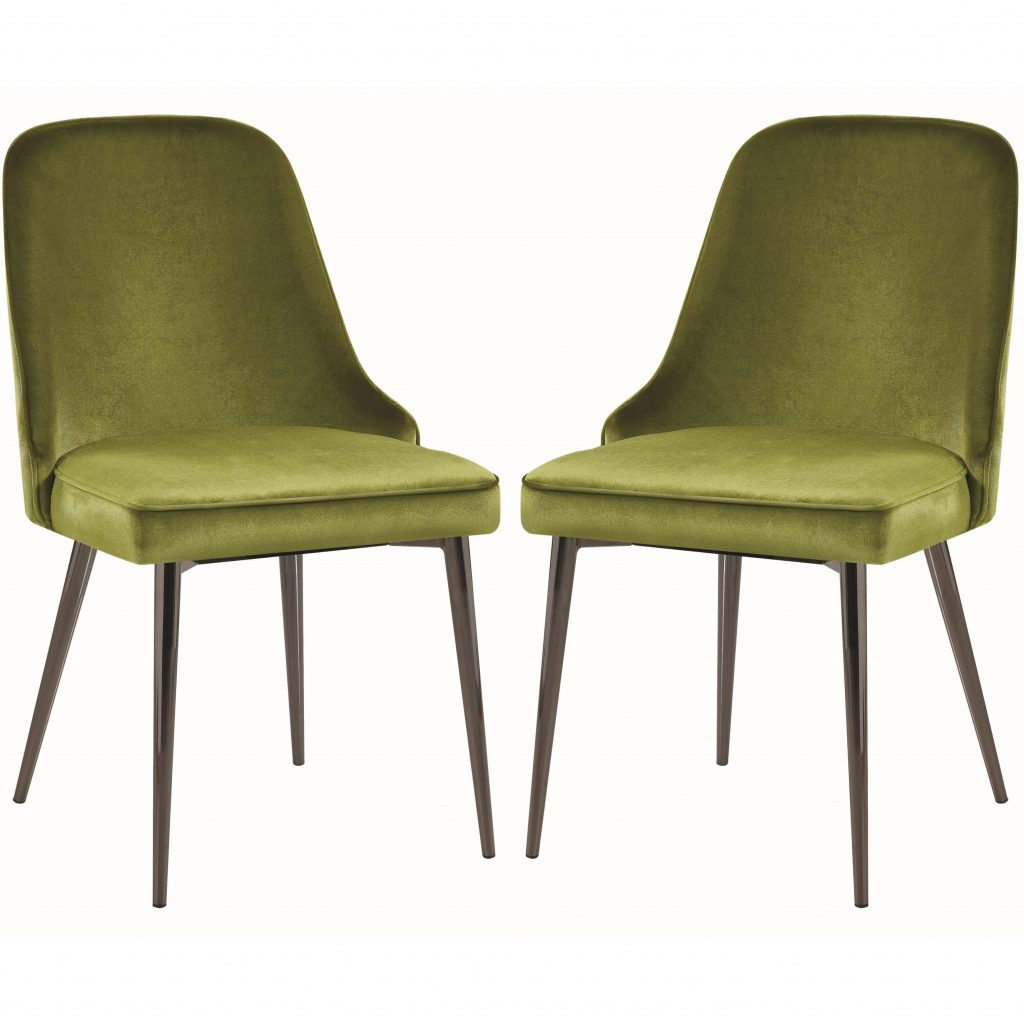 Modern Chic Design Green Velvet With Metal Legs Dining Chairs Set Of 4