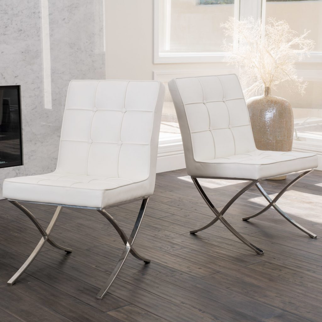 Modern Design White Leather Dining Chairs Sets White Leather Dining