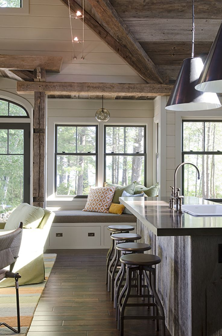 Modern Farmhouse Kitchen Nook Love The Rustic Wood Beams And The