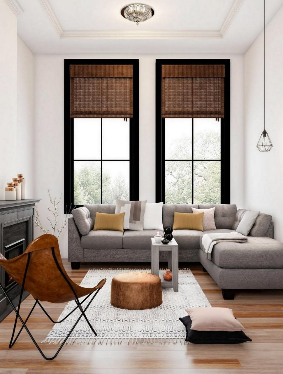 Modern Gray And Espresso Living Room Living Room The Home Depot