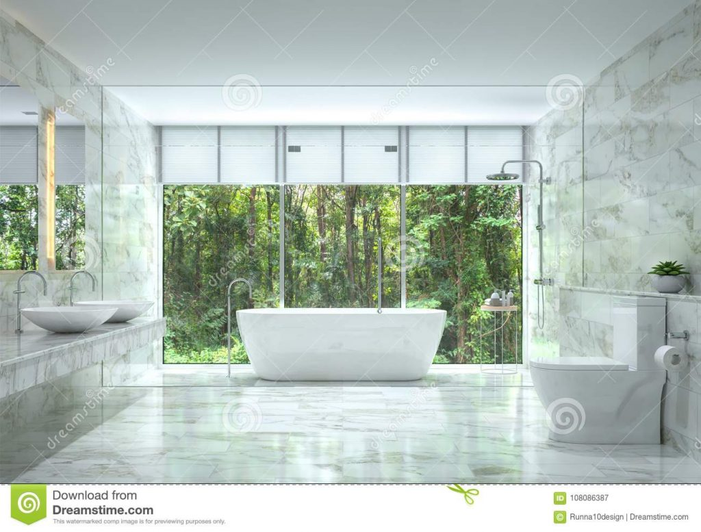Modern Luxury Bathroom With Nature View 3d Rendering Image Stock