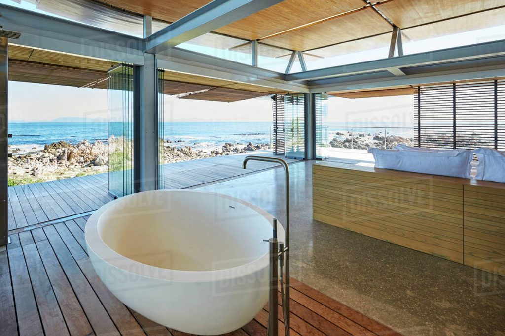 Modern Luxury Home Showcase Bathroom And Sink With Ocean View Stock Photo