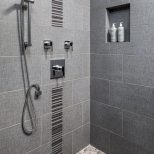 Modern Shower In Cool Gray Tones Bathroom Shower Ideas Bathroom