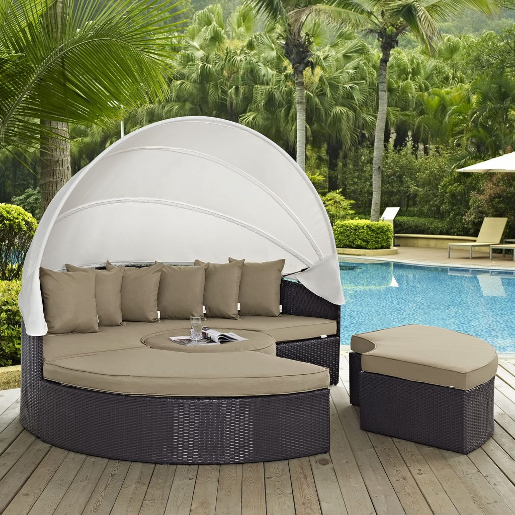 Modway Convene 5 Piece Canopy Outdoor Patio Daybed Multiple Colors