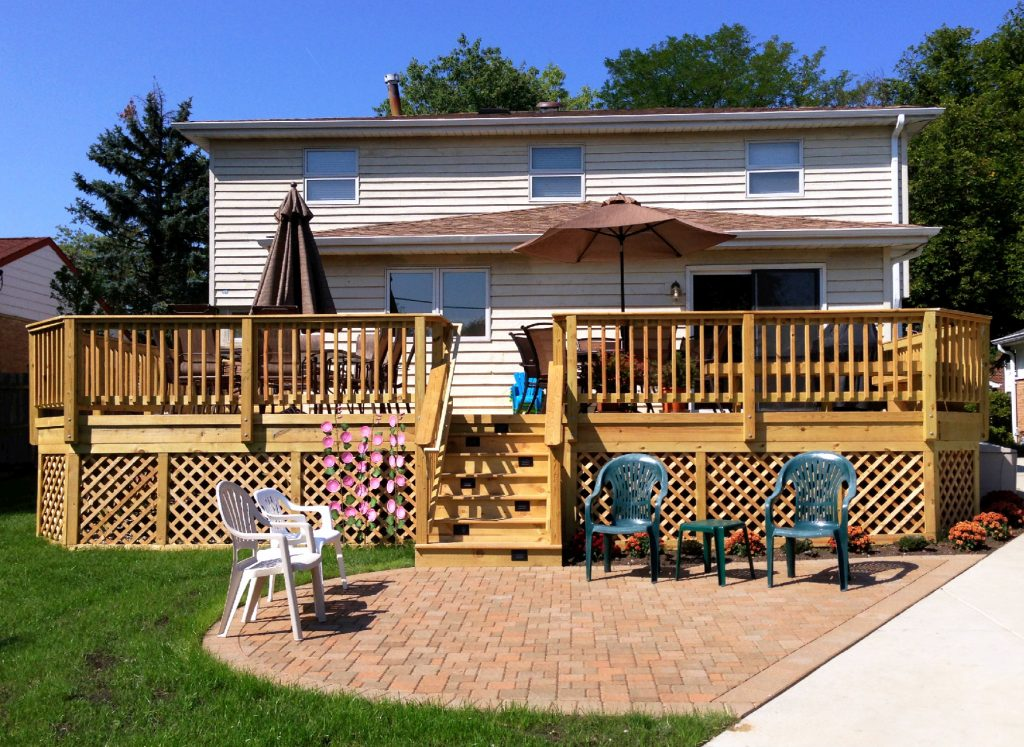 Multi Level Wood Deck And Belgard Paver Patio Design Woodridge