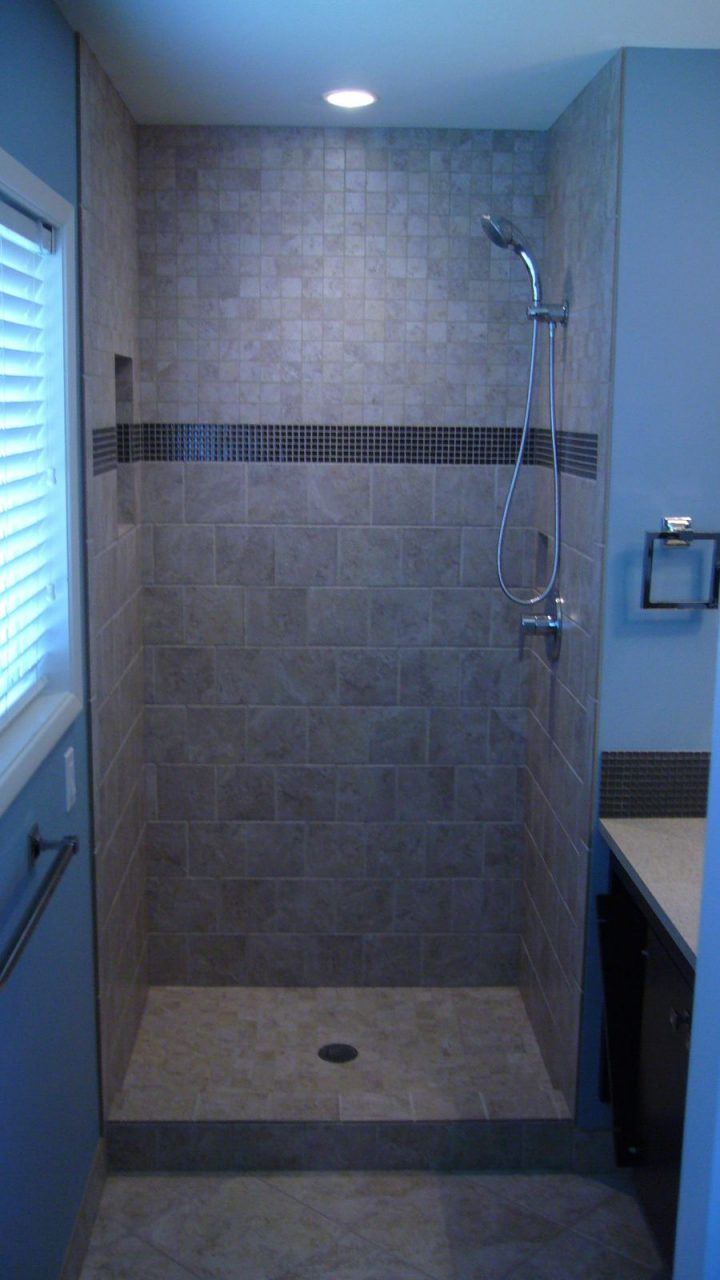 New Tiled Shower Stall Bathroom Updates Upstairs Bathrooms