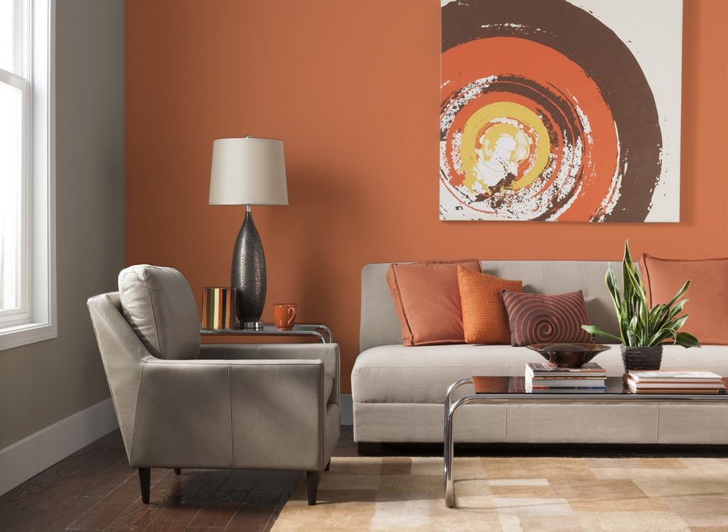 Orange Paint Ideas For Living Room Burnt Color Colors Delectable
