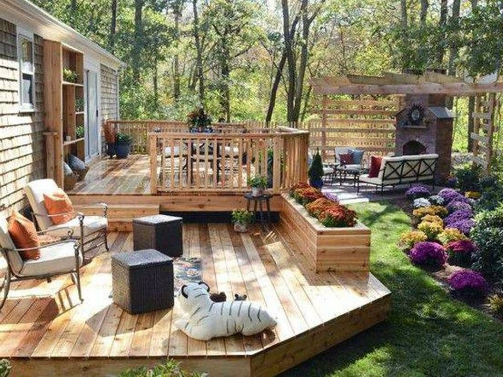 Outdoor Covered Patio With Fireplace Great Addition Idea The
