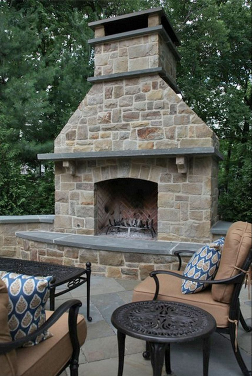 Outdoor Stone Fireplace Design Idea Outdoor Stone Fireplace Design