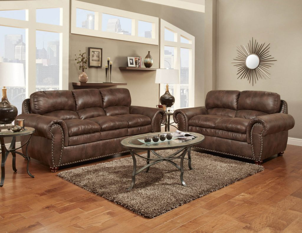 Padre Espresso Sofa And Loveseat Fabric Living Room Sets