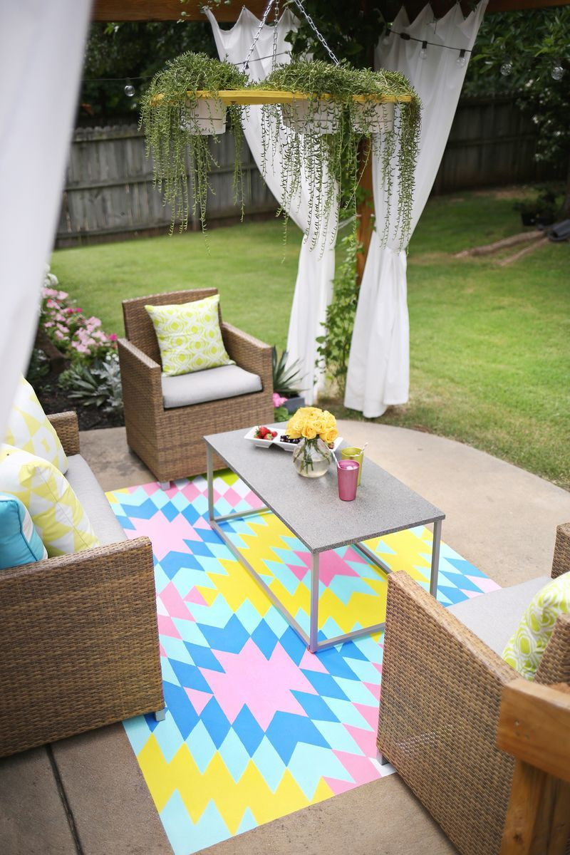 Paint Your Own Outdoor Rug Craft Diy Painted Rug Patio Rugs
