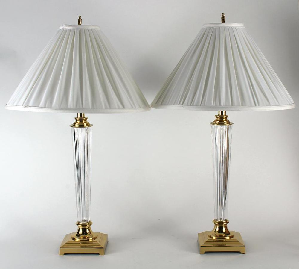 Pair Waterford Crystal Table Lamps Slender Tapered Silhoue