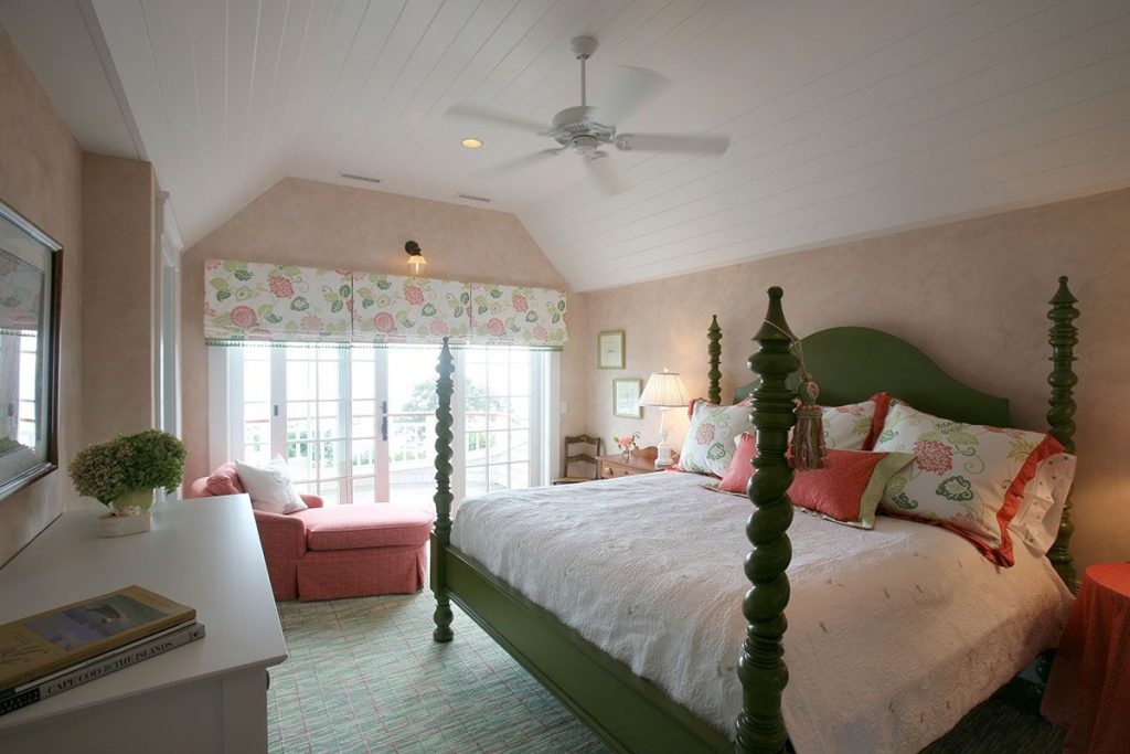 Peach Wallpapered Bedroom On Cape Cod With Bead Board Ceilings And
