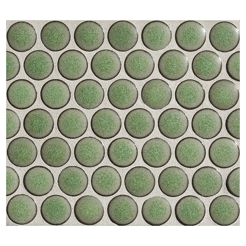 Penny Round Mosaic Green Tea Matte Complete Tile Collection