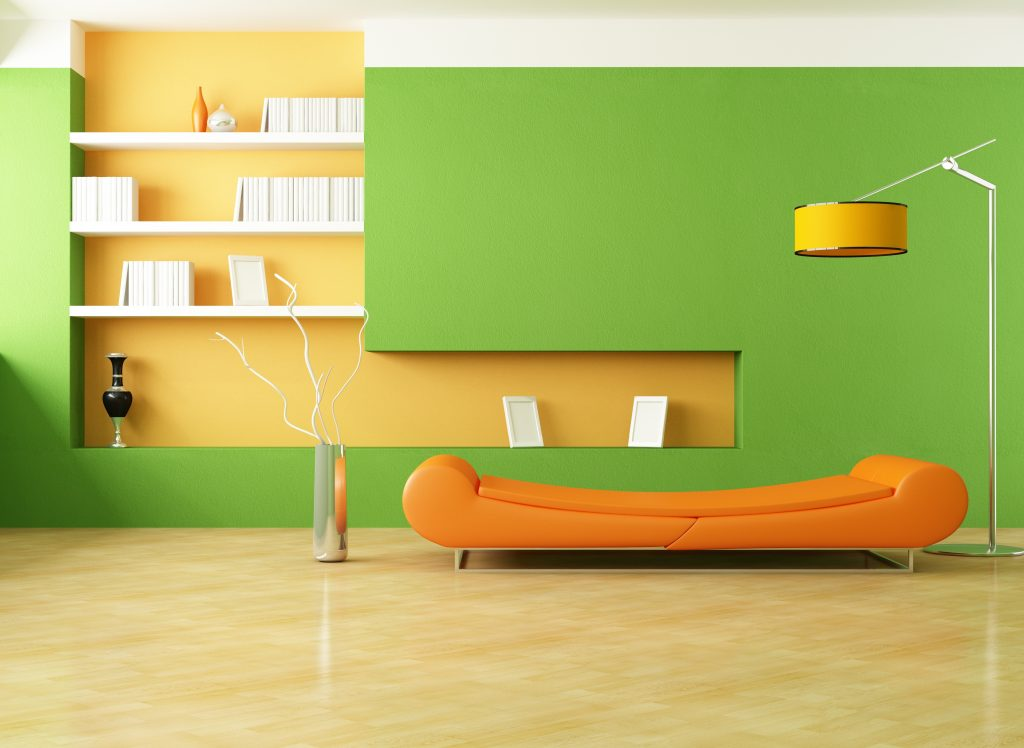Pleasant Home Interior Design Ideas With Green Orange Wall Paint