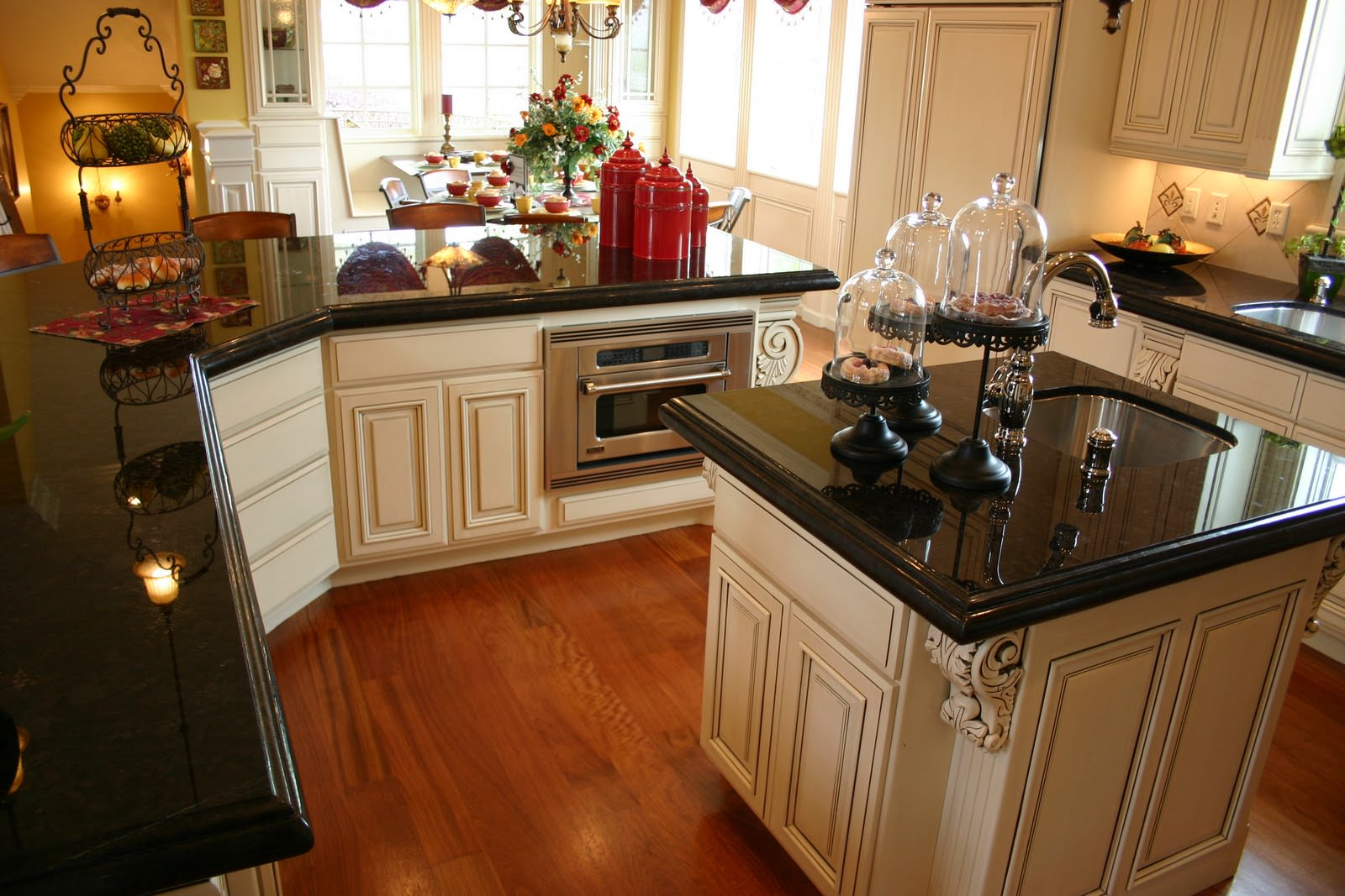 Polished Cream Kitchen Cabinets Black Granite Countertops Cream Layjao