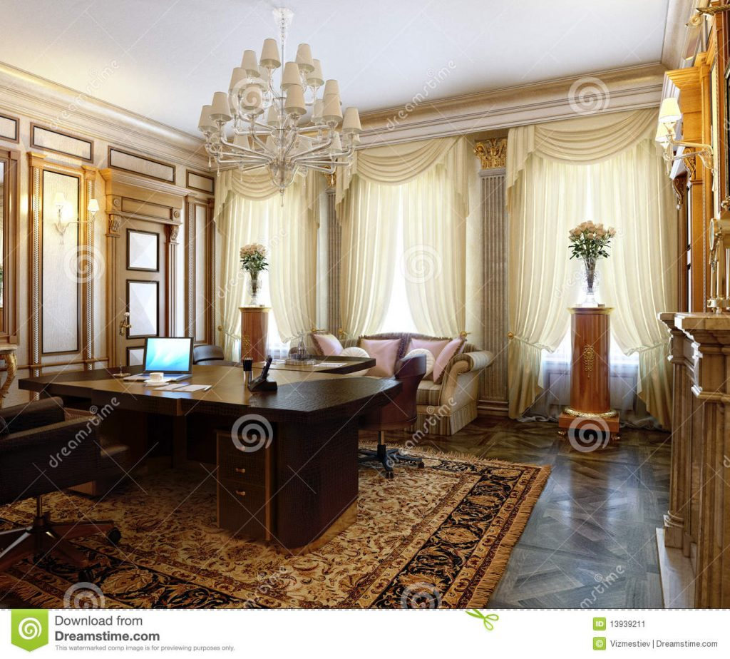 Posh Office In A Classic Style Stock Illustration Illustration Of
