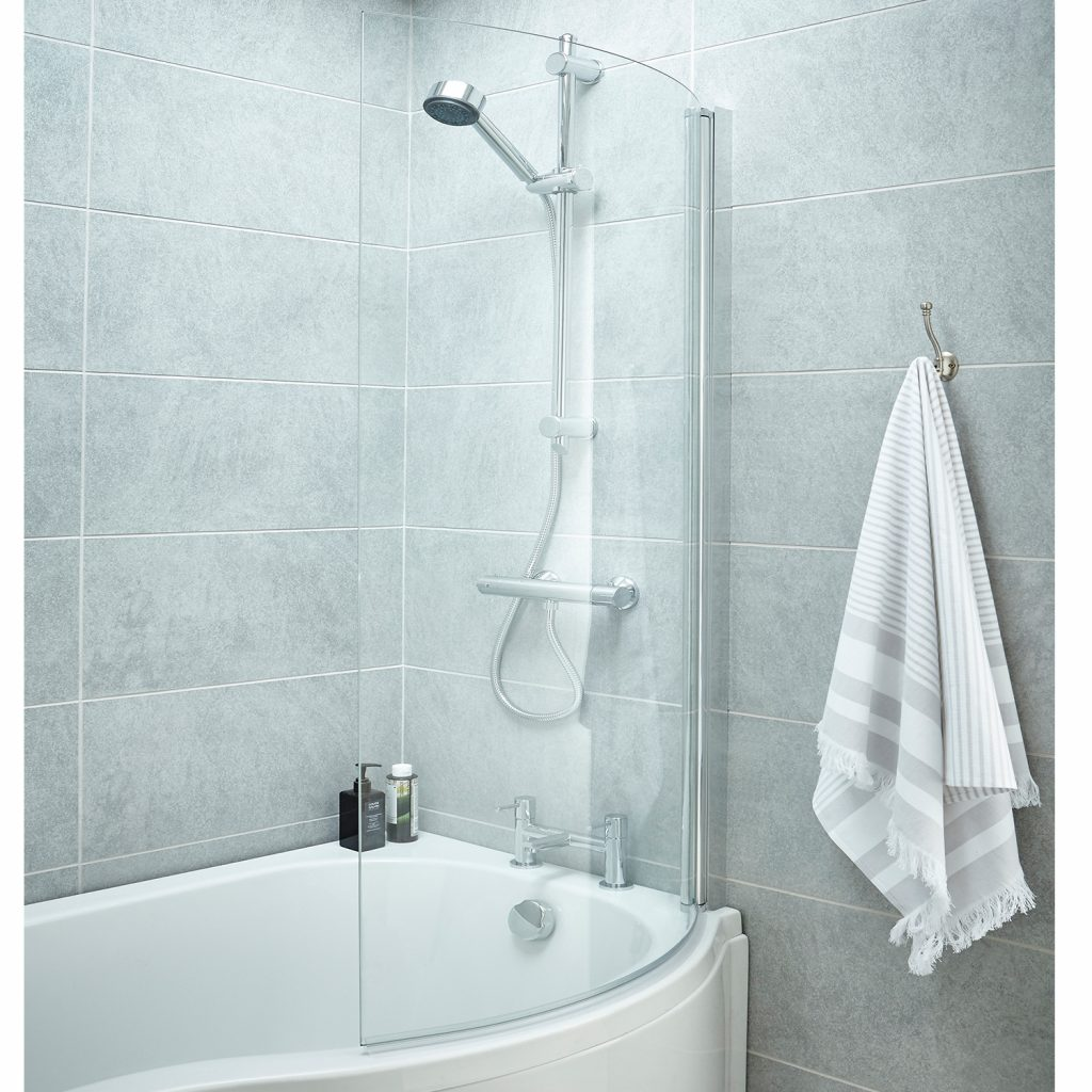 Premier P Shaped Shower Bath Screen 1435mm High X 720mm Wide 6mm Glass