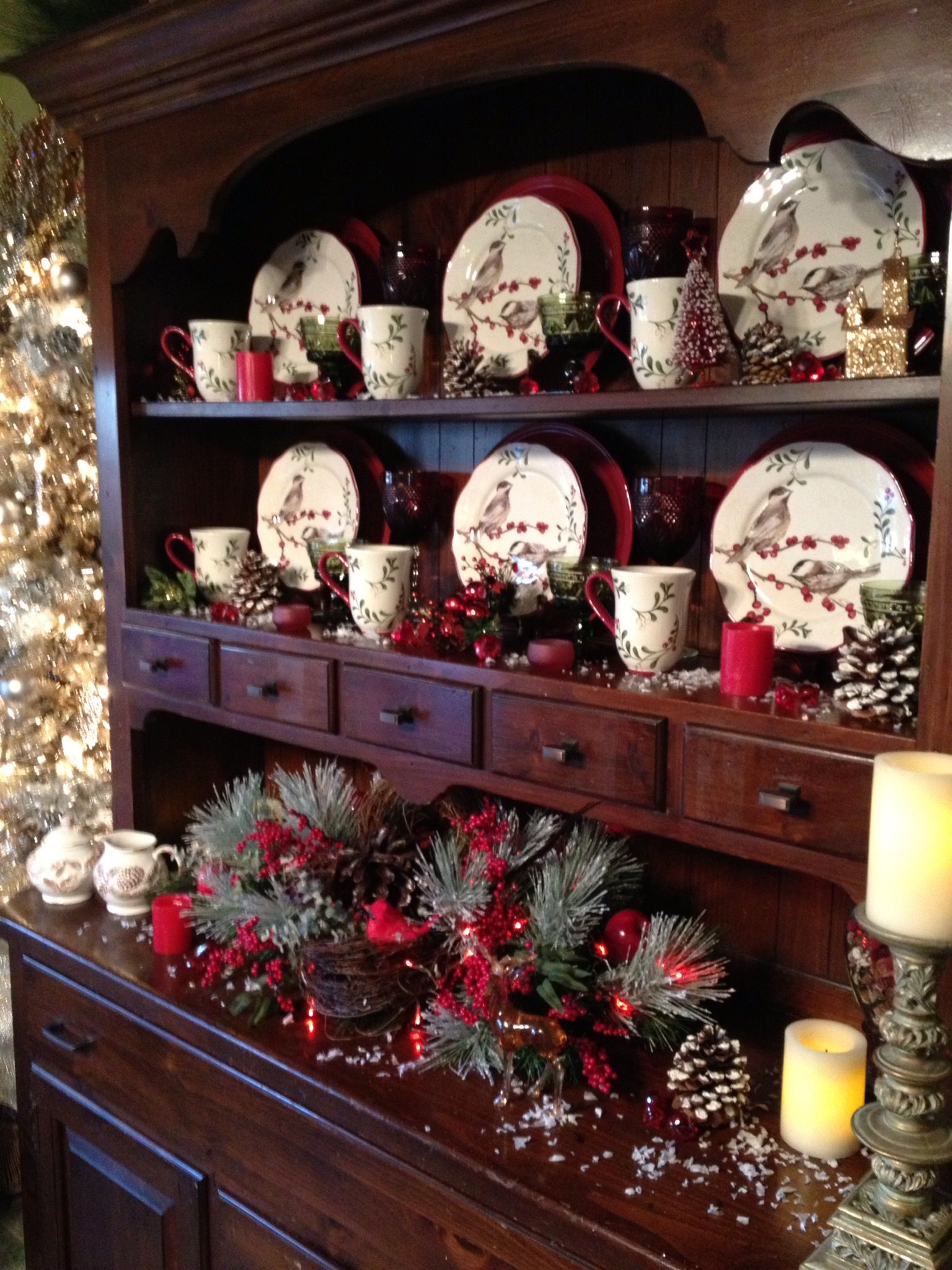 Pretty Christmas Decor Hutch Decorating Idea Hi My Name Is Monica