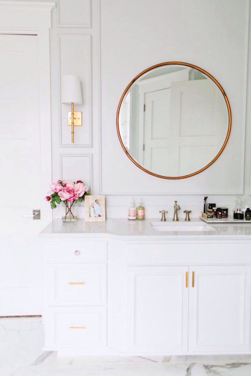 Pretty White Bathroom Brass Round Mirror Brass Pulls And Fixtures