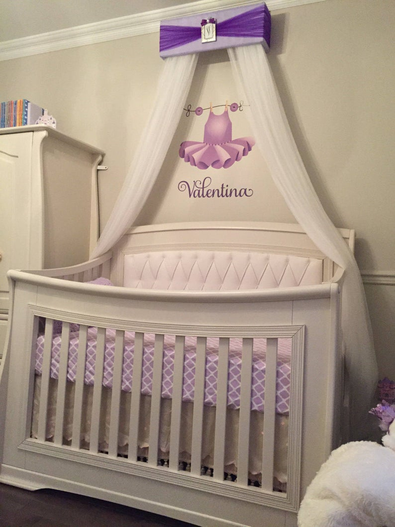 Princess Bed Crib Canopy Nursery Teester Lavender Purple Silver Personalized Free Upholstered Girls Bedroom Decor Custom So Zoey Boutique