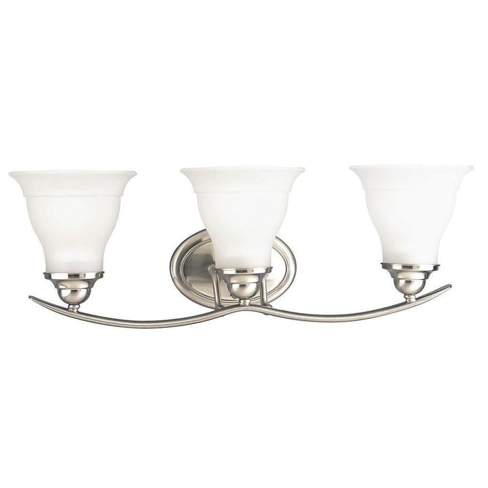 Progress Lighting Trinity 24 In 3 Light Brushed Nickel Bathroom Vanity Light With Glass Shades